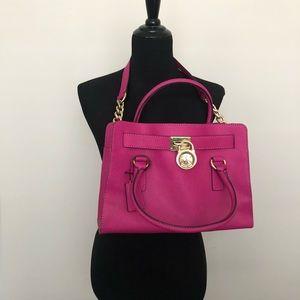 Michael Kors Fuchsia Hamilton Handbag, Medium